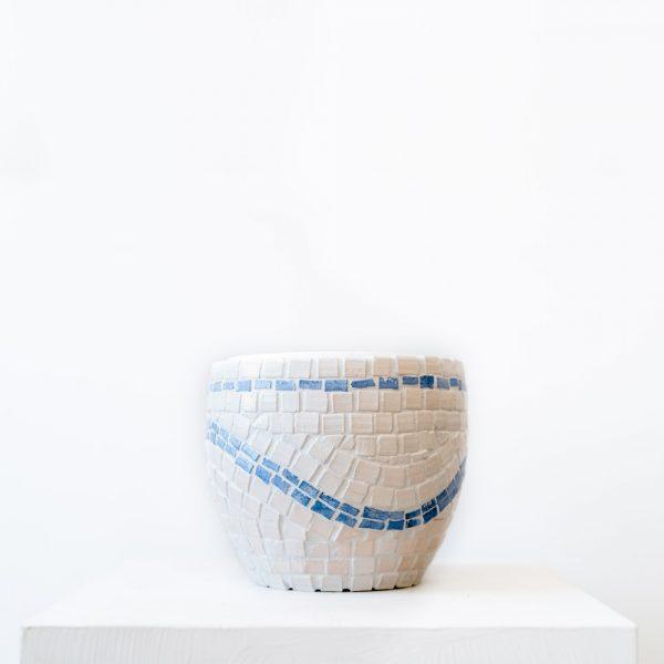 Ghp mavi beyaz mozaik saksi 11 cm 01