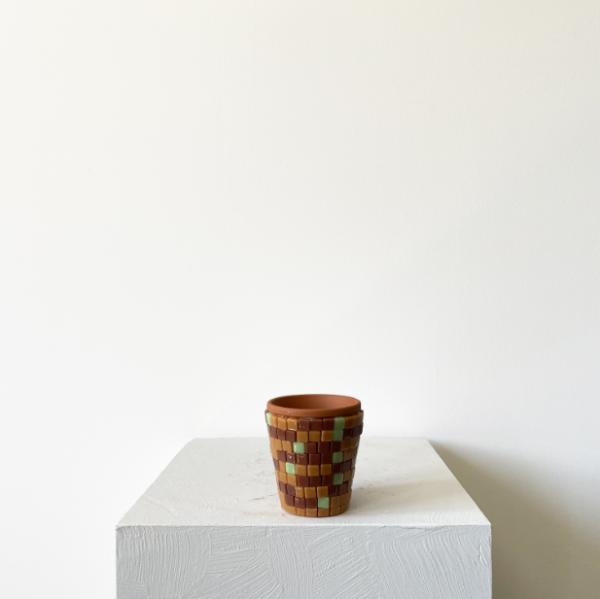 tessera mini kahve cam mozaik saksi 120tl ss